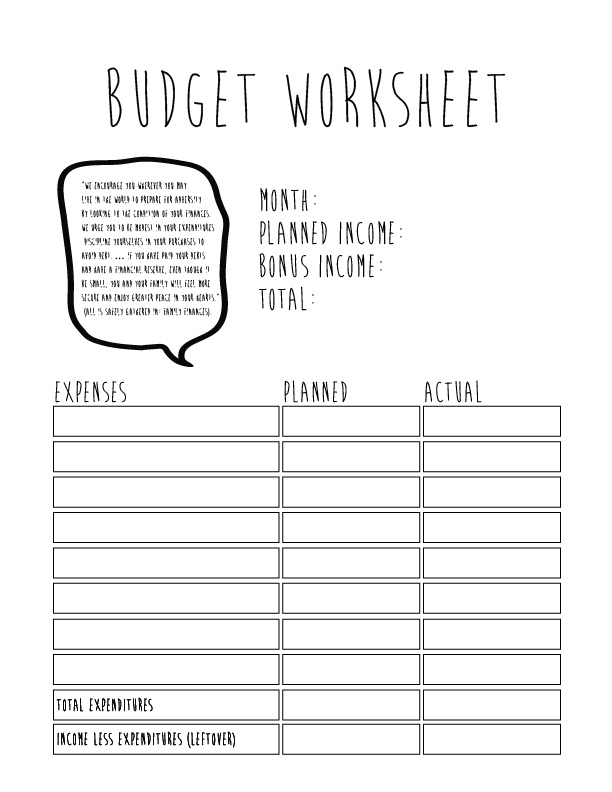 Worksheets Lds Budget Worksheet new 161 lds family budget worksheet pdf teenage faith evening activities home lesson